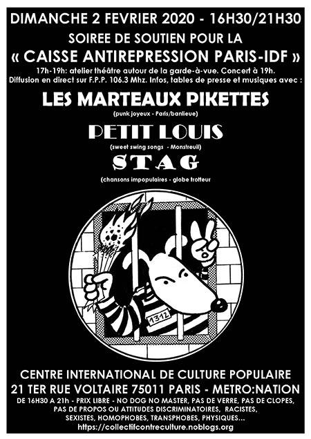 SOIRÉE DE SOUTIEN POUR LA COORDINATION ANTIRÉPRESSION le 02/02/2020 à Paris (75)