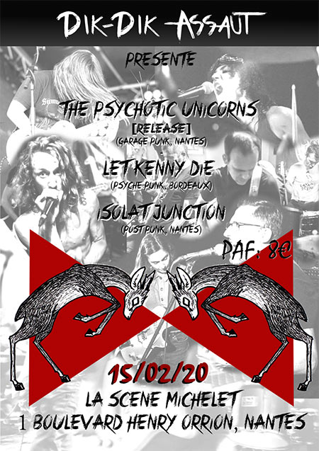 The Psychotic Unicorns + Let Kenny Die + Isolat Junction le 15 février 2020 à Nantes (44)