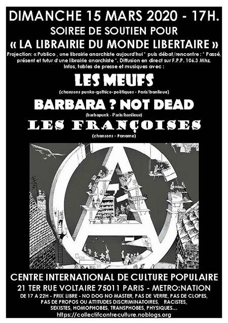 SOUTIEN POUR LA LIBRAIRIE DU MONDE LIBERTAIRE le 15 mars 2020 à Paris (75)